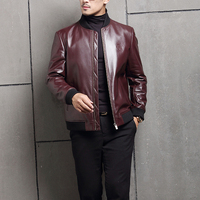 2017 Fashion Autumn New Silm Brand Genuine Leather Soild Colour Dimensional Design Leather Coat High Quality