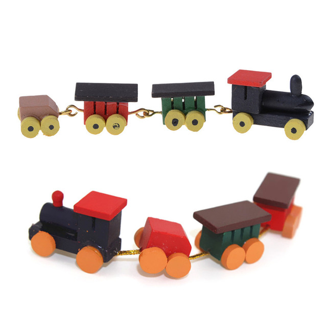 Us 155 16 Off1 Pcs Wood Trains Model Toys 112 Dollhouse Miniature Painted Wooden Toy Train Set And Carriages Gifts For Children In Model Building