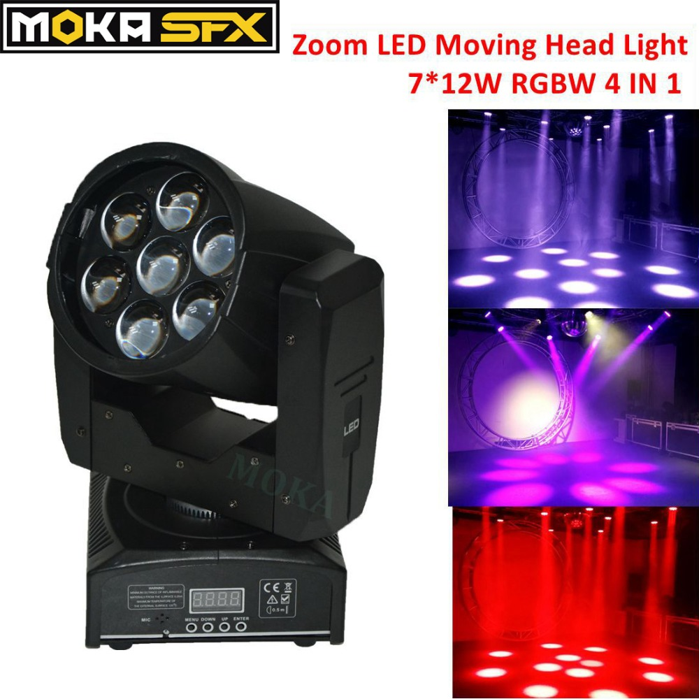 1pcs Zoom LED Moving Head Wash Beam Light 7*12W RGBW 4 in 1 LCD Display Gobos for Wedding Stage Nightclub Party