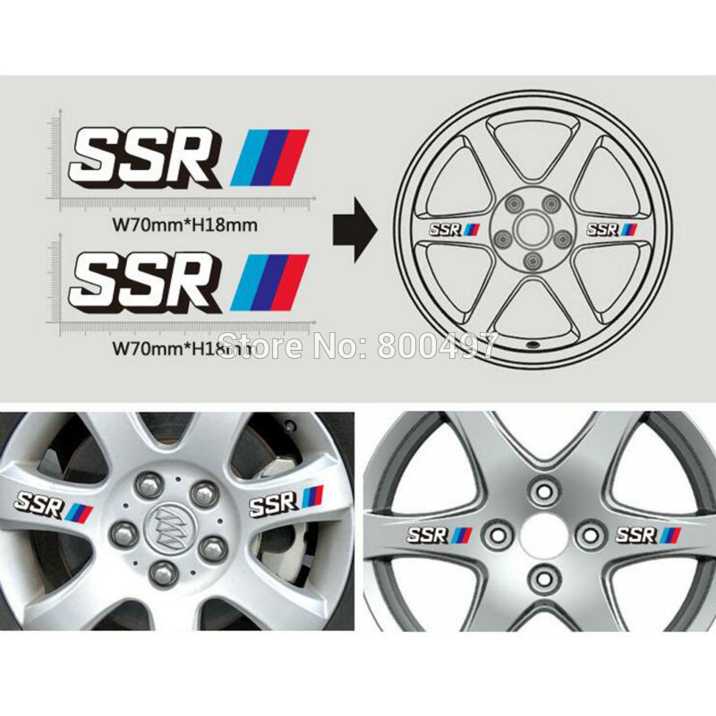 40 X Car Accessories Vinyl Decal High Quality PVC Car Wheel Rim Decoration Sticker Series Car Accessories Decal For SSR
