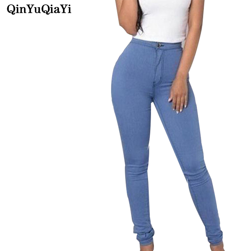 2017 New Fashion Jeans Women Pencil Pants High Waist Jeans Sexy Slim Elastic Skinny Pants Trousers Fit Lady Jeans Plus Size 4xl plus size high waist elastic jeans thin skinny pencil pants sexy slim hip denim pants for women euramerican
