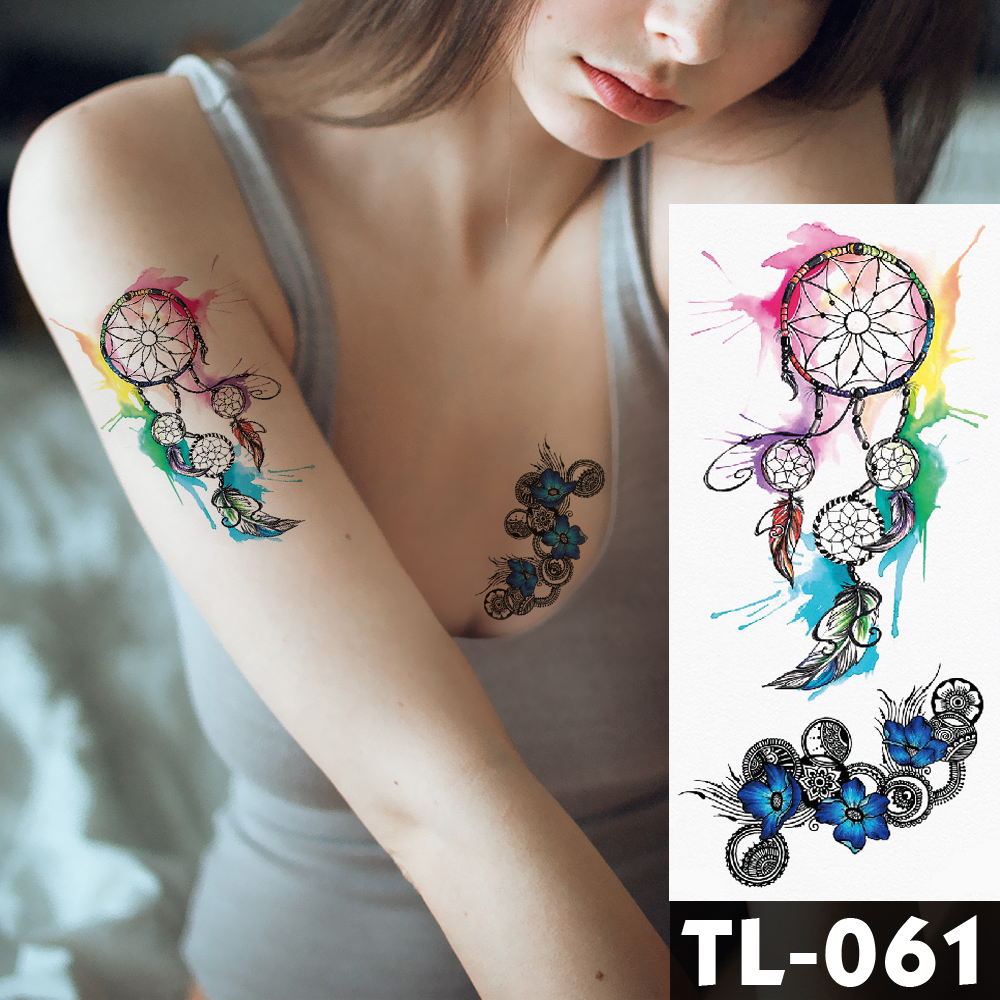 Water Transfer Colorful Dream Catcher Temporary Tattoo Sticker Blue