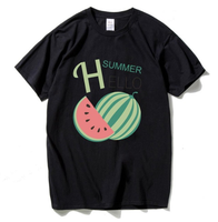 Hello Summer T Shirt Black Color High Quality Clothing With Style Casual Short Sleeve T Shirt