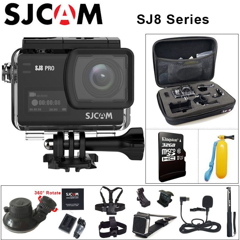 In Stock! Original SJCAM SJ8 Series SJ8 Air & SJ8 Plus & SJ8 Pro Action Camera 1290P 4K WIFI Remote Control Waterproof Sports DV lace panel long raglan sleeve striped t shirt
