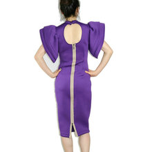 High-end custom 2016 spring Sunmer sexy women dress Slim Pencil Dress Women's Brand Butterfly Sleeve purple Dress plus size xxxl