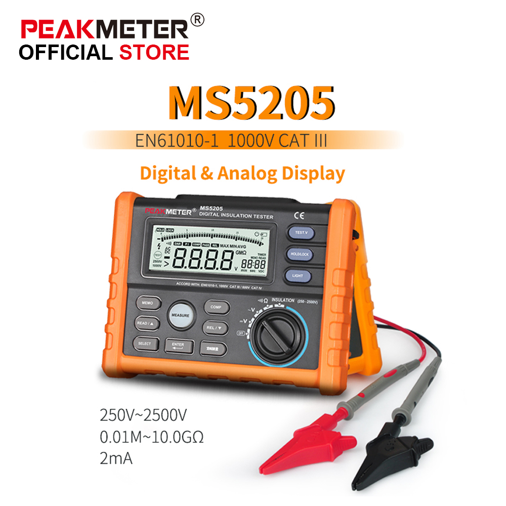 OFFCIAL PEAKMETER Analog and Digital 2500V MS5205 Insulation Resistance Tester megger meter  0.01~100G Ohm with Multimeter