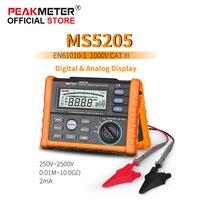 OFFCIAL PEAKMETER Analog and Digital 2500V MS5205 Insulation Resistance Tester megger meter 0.01~100G Ohm with Multimeter