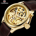 Мужские автоматические механические часы Forsining  спортивные часы золотого цвета с кожаным ремешком  2019