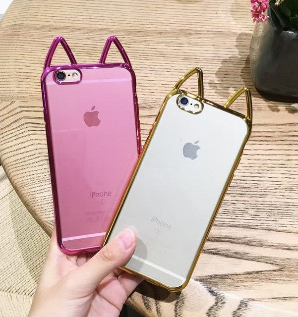 huge selection of 936d8 659ad US $3.69  Dower Me Super Cute Korea Style Cat Ear Phone Case Cover For  iPhone X 8 7 6 6S Plus Gilded Soft TPU Transparent Back Cover-in  Half-wrapped ...