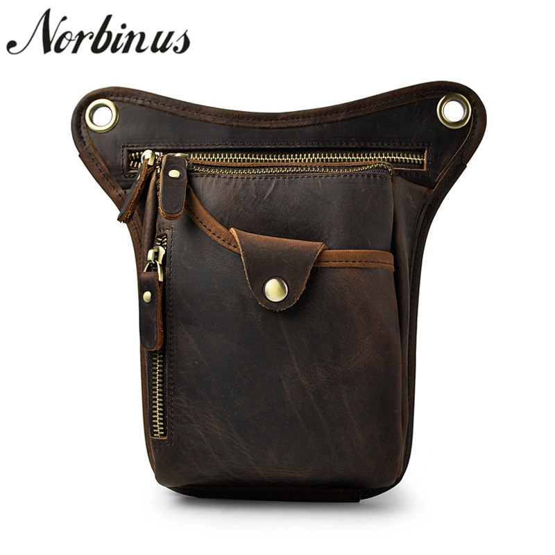 Norbinus 100% Real Leather Drop Leg Bag Men Genuine Leather Waist Pack Casual Shoulder Crossbody Messenger Bags Male Phone PouchNorbinus 100% Real Leather Drop Leg Bag Men Genuine Leather Waist Pack Casual Shoulder Crossbody Messenger Bags Male Phone Pouch