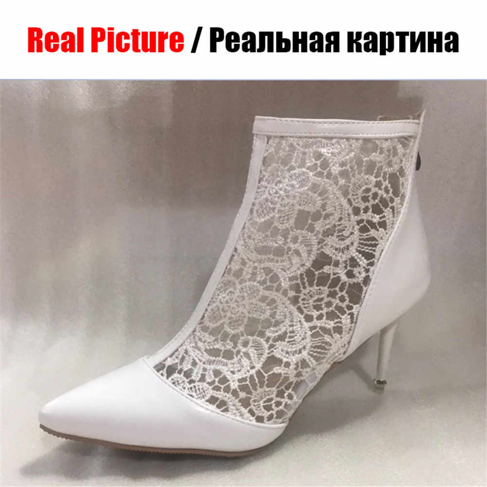KARINLUNA ผู้หญิงขนาดใหญ่ 32-47 เซ็กซี่ลูกไม้ตาข่ายบางรองเท้าส้นสูงรองเท้าผู้หญิง Elegant Mature ปาร์ตี้รองเท้าฤดูร้อนรองเท้า