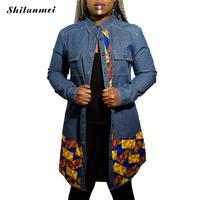 2016 new المرأة الربيع الدنيم قميص المرأة طويلة الجينز القطن سترة هندسة blusa قمم زر البلوزات زائد حجم طويلة الأكمام قمصان