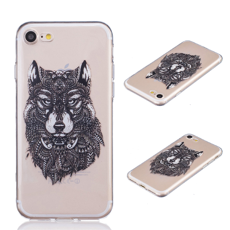 Ultrathin Soft TPU Case for iPhone 7 7 Plus 4.7″ 5.5″ Black Wolf Pattern Dream Catcher Transparent Phone Cases Shell B652
