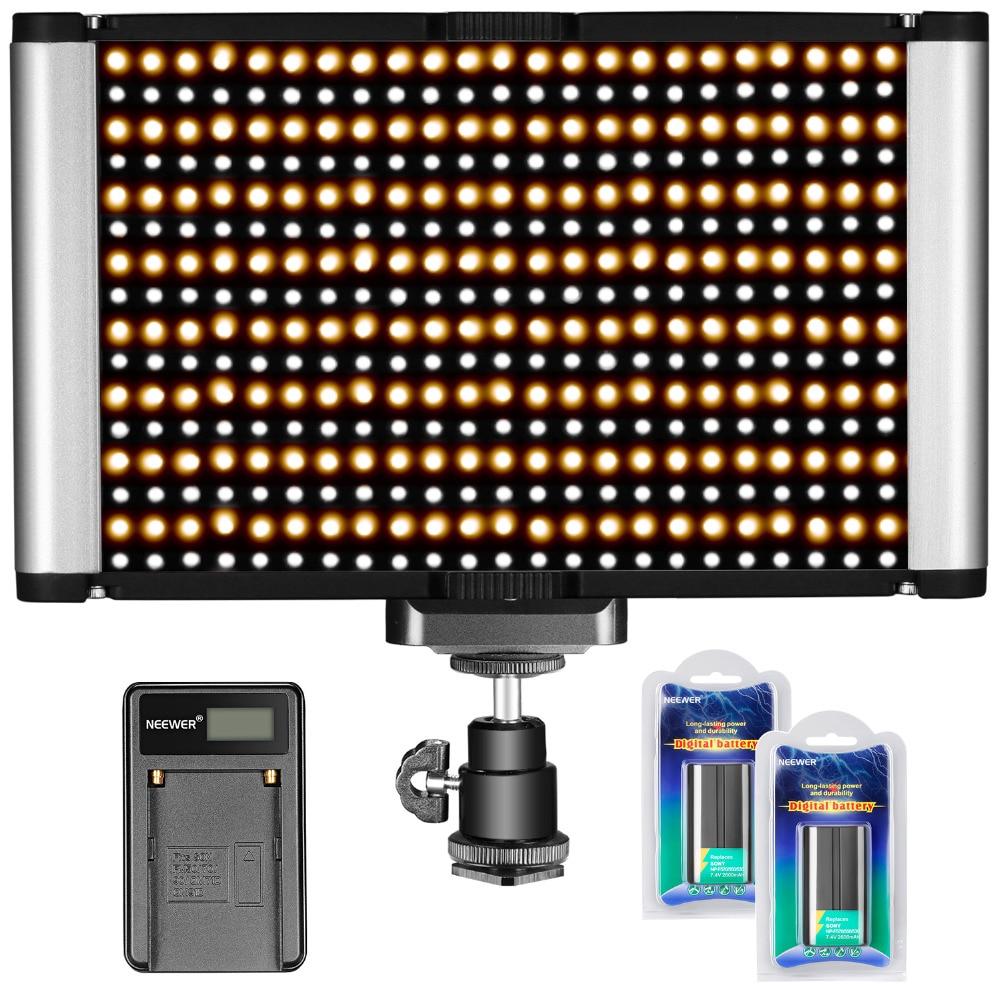 Neewer Dimmable Camera Video Light Kit:Bi color 280 LED Panel CRI 96+ 3200 5600K,2 PCS Rechargeable Li ion Battery,USB Charger