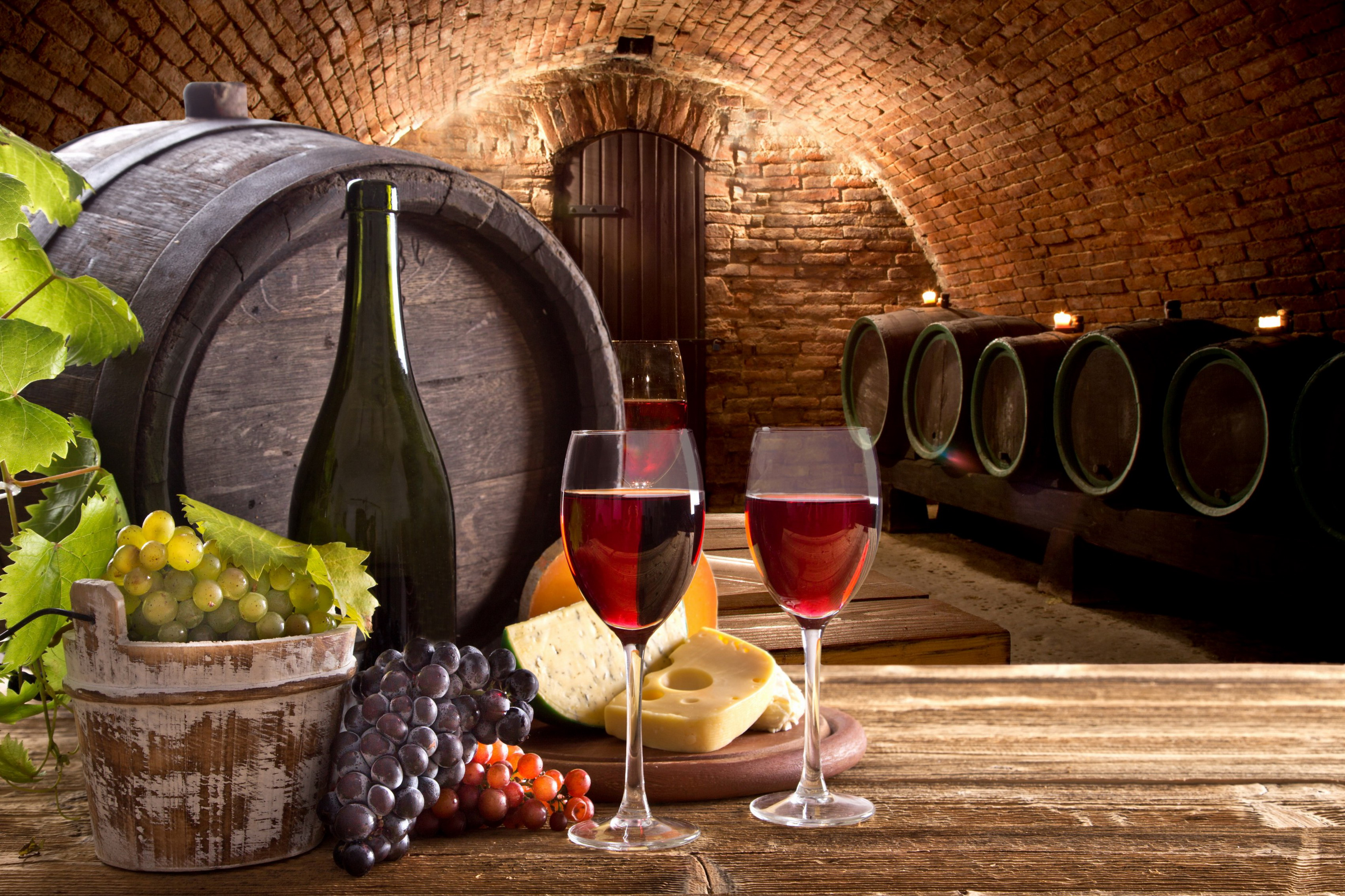 Home Decoration Cellar Barrel Wine Table Glasses Bottle Grapes Cheese Food Photo Silk Fabric Poster Print Sw1469942 Sw045