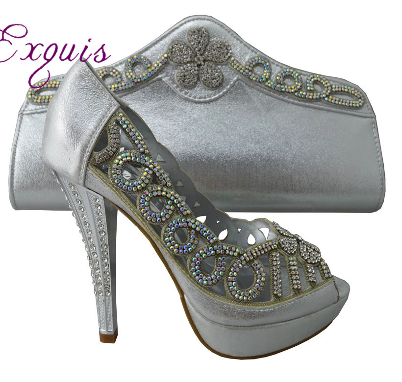 ФОТО New arrival New design lady Italy shoes with matching Bags fashion lady party  wedding.1308-L39 silver size 38-42