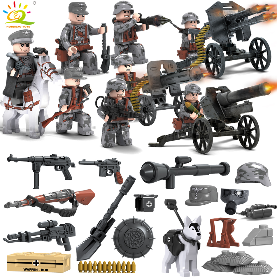 Military WW2 German Swat soldiers Compatible Legoed City Police Assault Army Weapons Gun Figure building Blocks toy for children цена