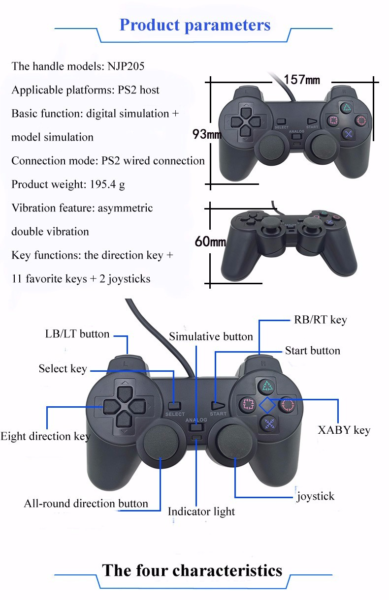 Wired Game Controller für Sony PS2 Playstation 2 Joypad Pad ...