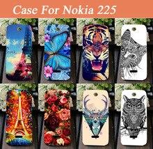 Высокое качество DIY 14 Стили Окрашенные цветы aniamls Эйфелевой Башни Печати Твердый Переплет случаи Мобильного телефона Оболочки Для Nokia 225
