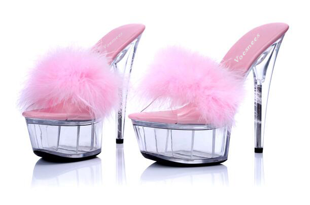 Shoes Woman Platform Sandals Transparent Crystal Ultra High Heels 15cm Waterproof Maomao Sandals Appeal Big Yards Slippers