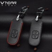 Vtear для Mazda CX5 CX-5 ключа автомобиля чехол Обложка кожа автомобильный брелок защиты оболочки подкладке Запчасти аксессуары для ключей для автомобиля