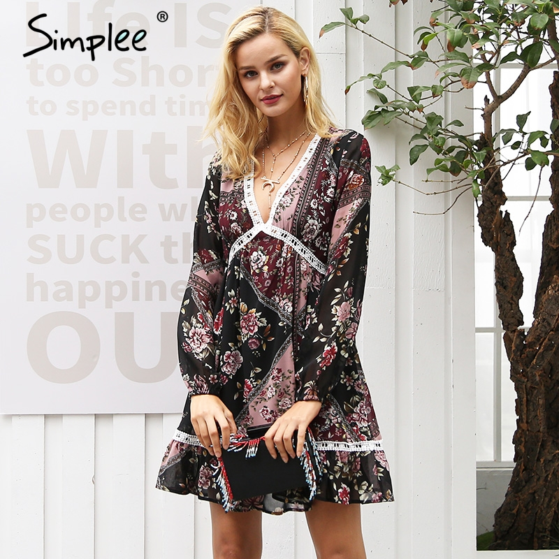 Simplee Floral print ruffles winter dress women V neck long sleeve autumn dress lace hollow out robe femme vestidos 2017