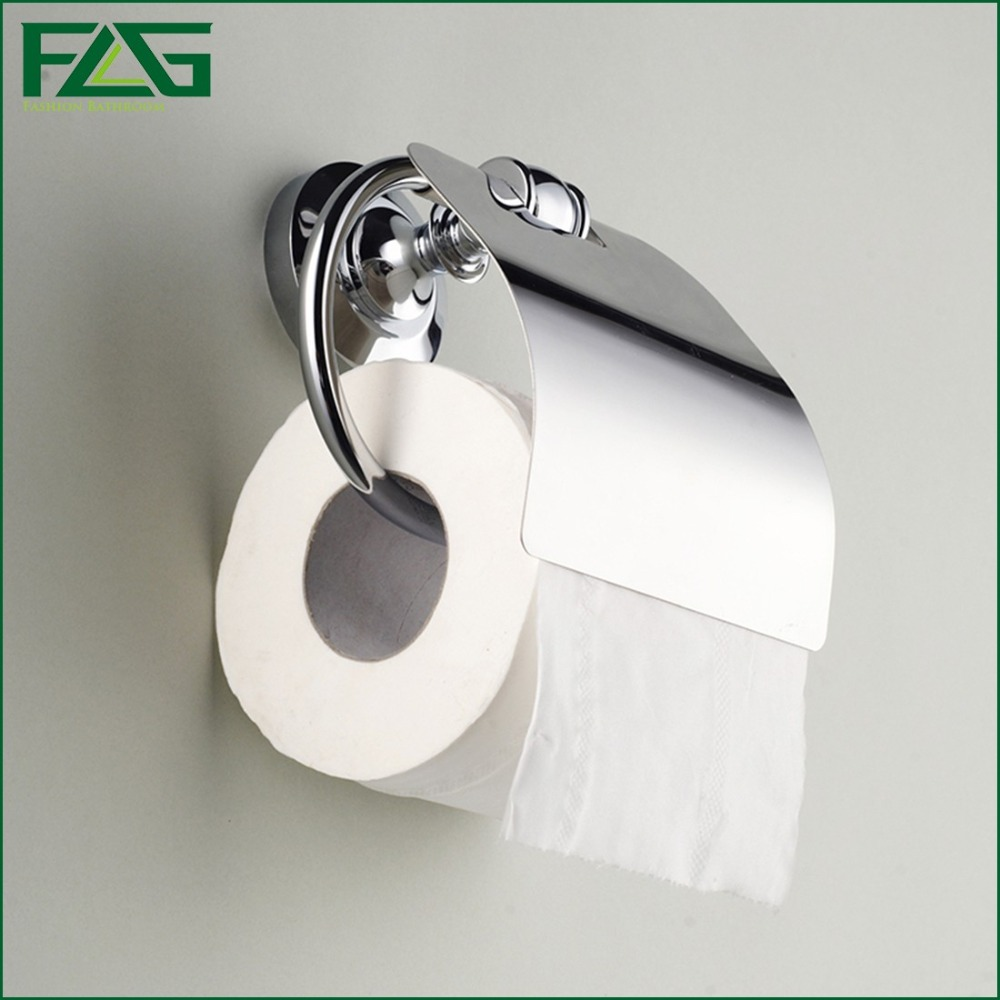 ФОТО FLG Sanitary Ware Toilet Paper Holder BathroomToilet Brass Chrome Polished Wall Mounted Bathroom Paper Holder With Cover G115