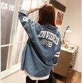 Новинка женская джинсовая куртка для 2016 весна и лето письмо широкий свободного покроя уличной верхняя одежда пальто дешевые ковбой отдых пальто
