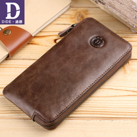 DIDE High Quality Men Wallet Clutch Genuine Leather Brand Wallet Male Organizer Cell Phone Clutch Bag