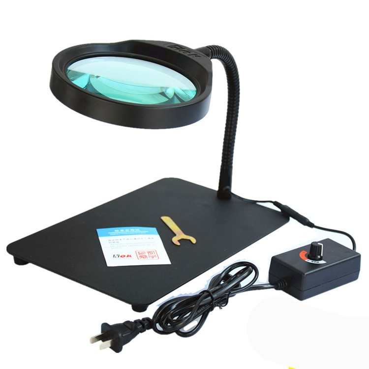 Table Magnifier 10X Multifunctional LED adjustabl Desk Magnifying Glass with LED Lamp Lupa Loupe for Reading Watch PCB Repair 3x a4 full page large giant hands free desk foldable magnifying glass magnifier for reading sewing knitting with 4 led lights page 3