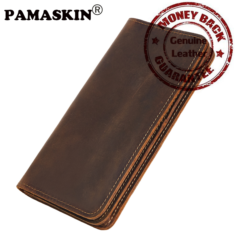 PAMASKIN Business 100% Genuine Leather Men Organizer Wallets Large Capacity Zipper Male Purses With SIM Card Holder 2017 Vintage