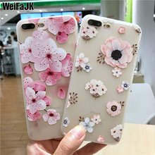 WeiFaJK Girl Flower Patterned Silicone Case For iPhone 6 6s Plus 7 8 Cases Matte Soft TPU Cover For iPhone 8 7 6 6s Plus Case matte anti fingerprint soft tpu case for iphone 6s 6 4 7 inch black