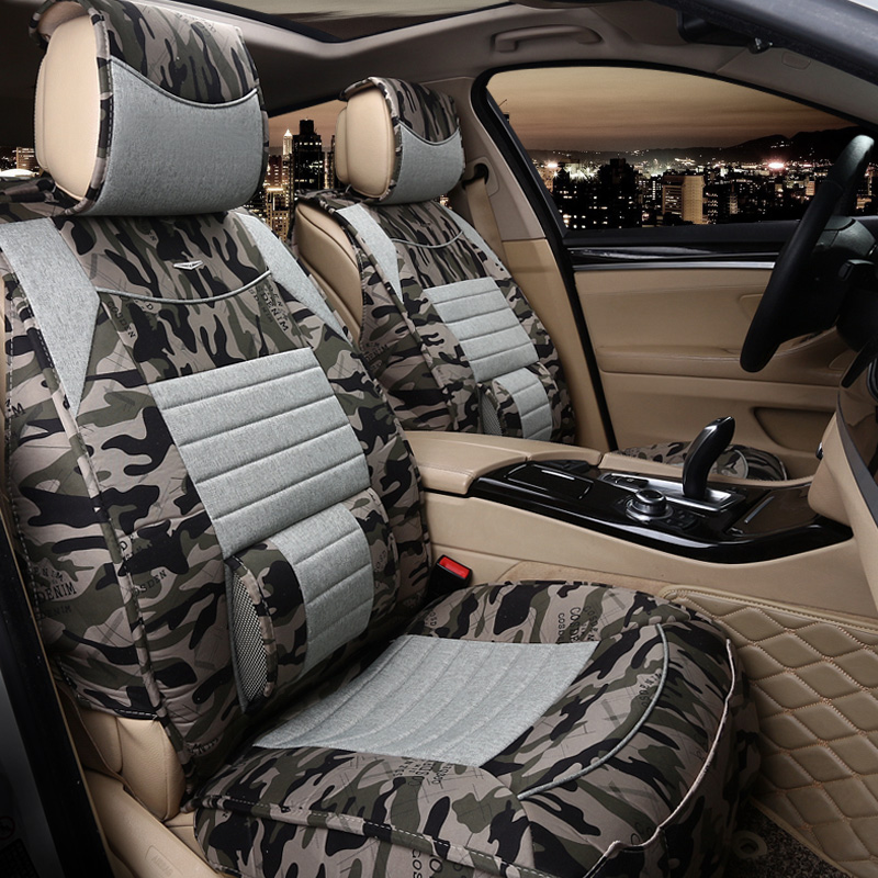 2016 brand fashion linen camouflage universal car seat cover set