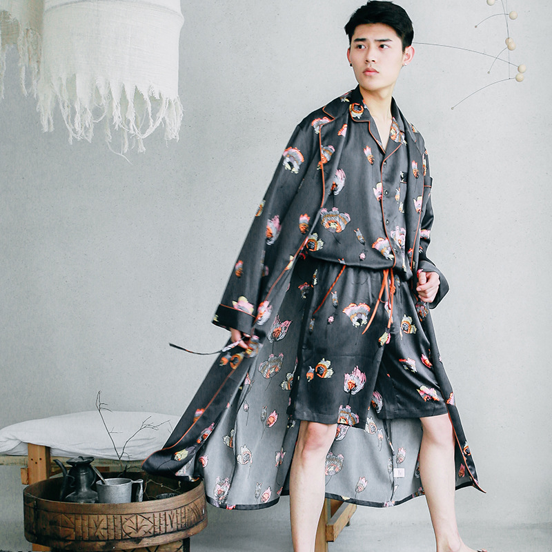 New Silk Nightgown Summer Men's Printing Silk Thin Long Sleeved Bathrobe Men's Large Size Men's Three-piece Set Home Sleepwear