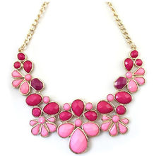 Free Airmail Shipping Fashion Fresh Blue Pink Rhinestone Flowers Short Design Necklace N1215(China)