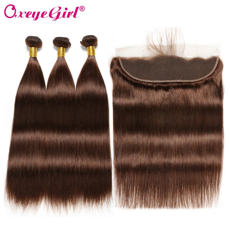 Lace Frontal With Bundles Peruvian Straight Hair 3 Bundles With Frontal Light Brown 4 Human Hair