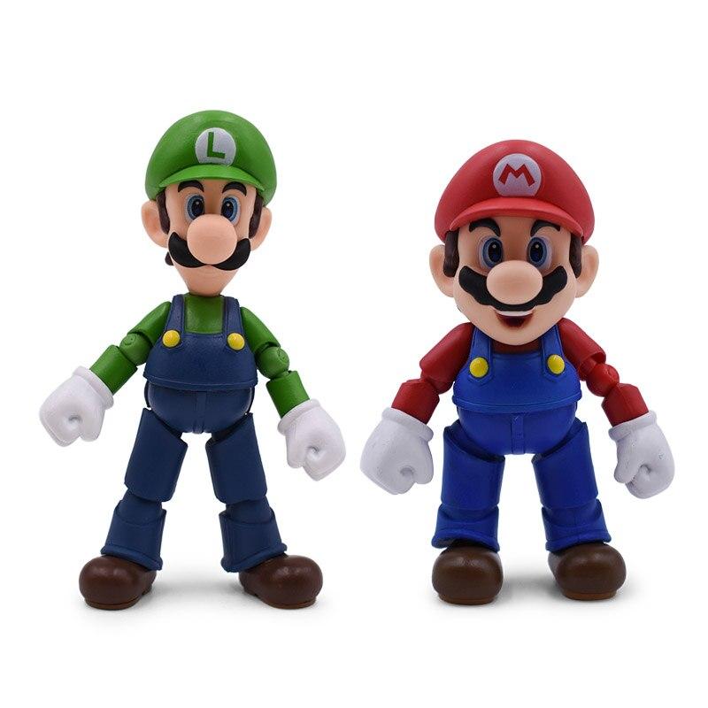 2 pcs/lot figurine animé Super Mario Bros Mario/Luigi PVC figurine poupée à collectionner modèle bébé jouet cadeau de noël