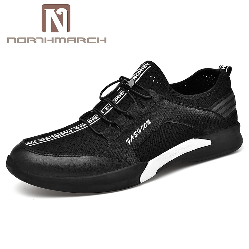 Formadores Homens Respirável Elástico Flats Hombre Leve branco Casuais Preto Sólidos Sapatos Verão Zapatos Northmarch Moda SBUqvv