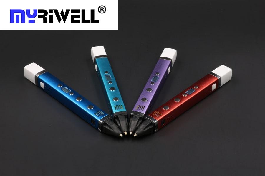 1.75mm ABS/PLA DIY Metal USB 3D Printing Graffiti Pen Safe LED/LCD 3D Pen Painting Drawing Pen Handle For Kids Creative Design