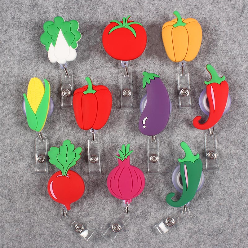 Creative  Vegetables Eggplant Corn Retractable Badge Card Holder Reel Nurse School Students Exhibition Enfermera Name Card Chest