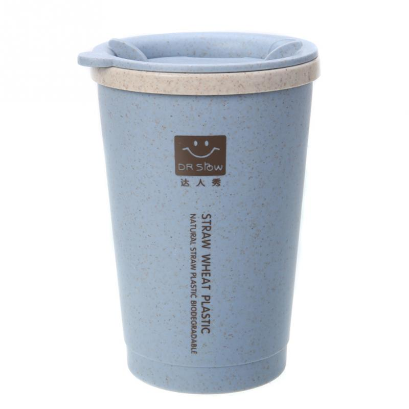 Reusable Travel Bottle To Go <font><b>CoffeeCup</b></font> Bottle with Lid Wheat Stalk PP Bottle Sleeve for Tea and Coffee 250ML image