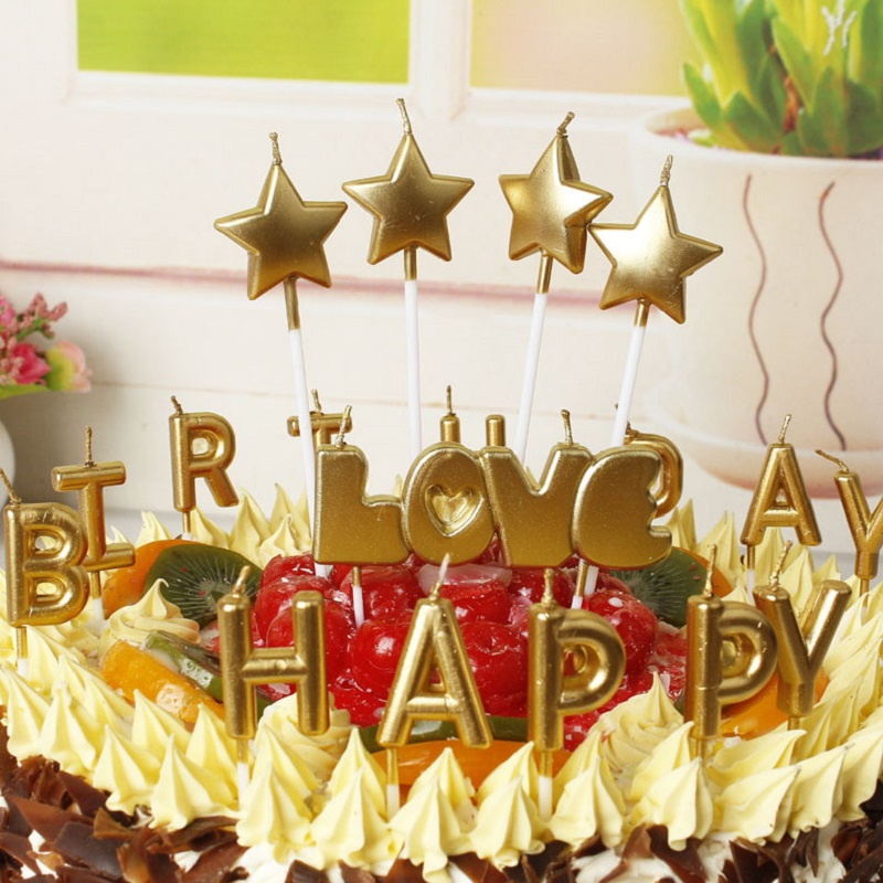 Birthday Candle Happy Stars For Cake Topper Flameless Stick Wedding Christmas Party Candles In Decorating Supplies