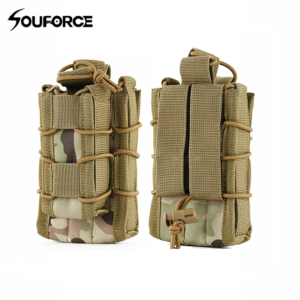 1pc Outdoor Tacitial Double Decker Single Rifle Pistol Bag in 5 Color Molle Pouch Cartri ...