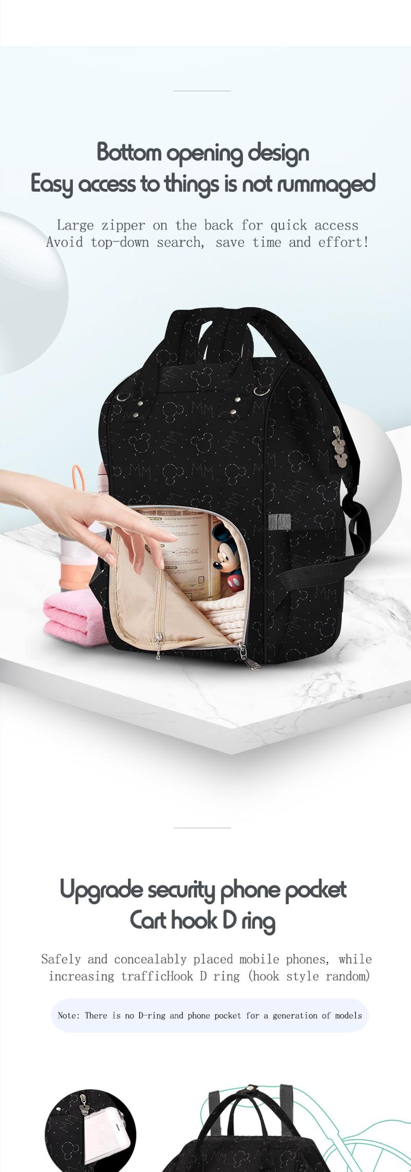 HTB1zShcXsnrK1RjSspkq6yuvXXab Disney Diaper Bag Backpack For Moms Baby Bag Maternity For Baby Care Nappy Bag Travel Stroller USB Heating Send Free 1Piar Hooks