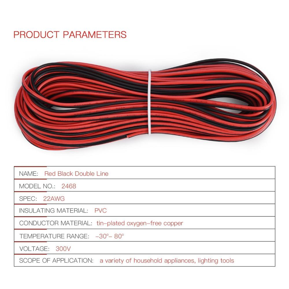 22 Awg insulated copper wire Electric cables 2pin Red Black Copper ...