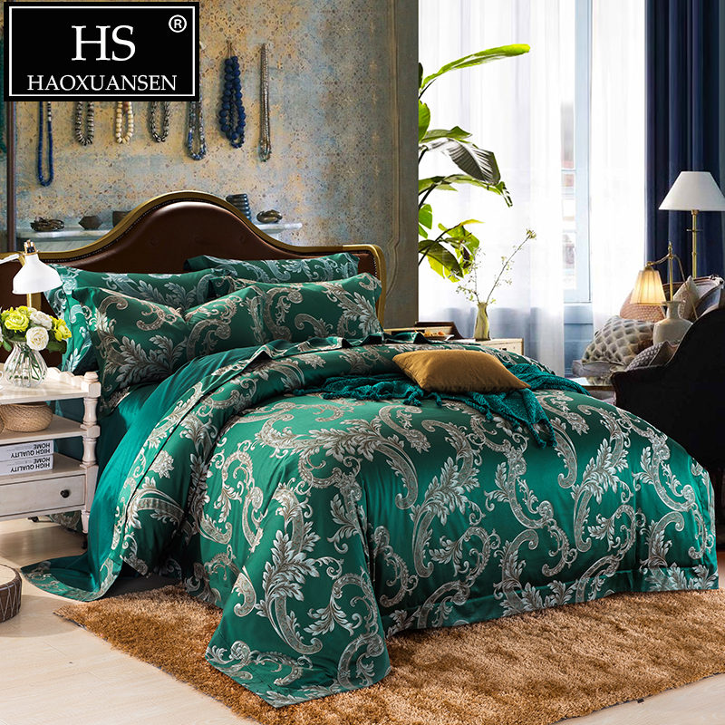 650 TC Jacquard Bedding Set Egyptian Cotton Yarn Dyed Fabric Baroque Design Sheets Duvet Cover Pillowcase Villa Queen King Size