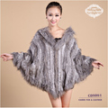 CDS081 Wholesale Ladies Large Rabbit Fur Poncho With Hood With Raccoon Dog Fur Trim
