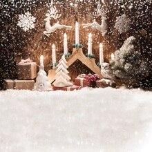 все цены на Laeacco Christmas Tree Winter Snow Deer Candle Baby Photography Backgrounds Customized Photographic Backdrops For Photo Studio онлайн