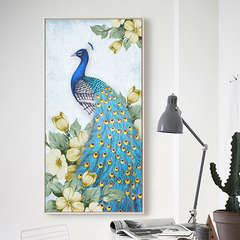 New Chinese Style Porch Aisle Vertical Blue Gold Peacock Decorative Painting Living Room Sofa Background Mural Home Decor Poster