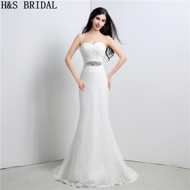 bdfd126c5d601 Sweetheart Lace mermaid wedding dresses Beaded Lace Up with Bow boho wedding  dress Off Shoulder Wedding